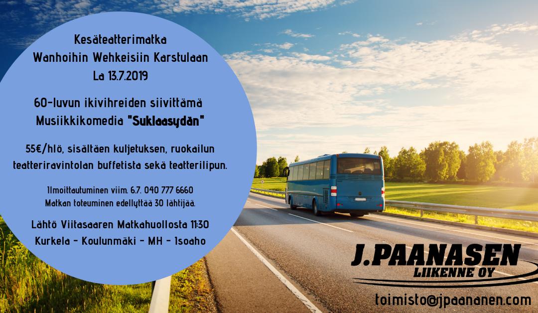 Kesäteatterimatka Karstulaan lauantaina 13.7.2019